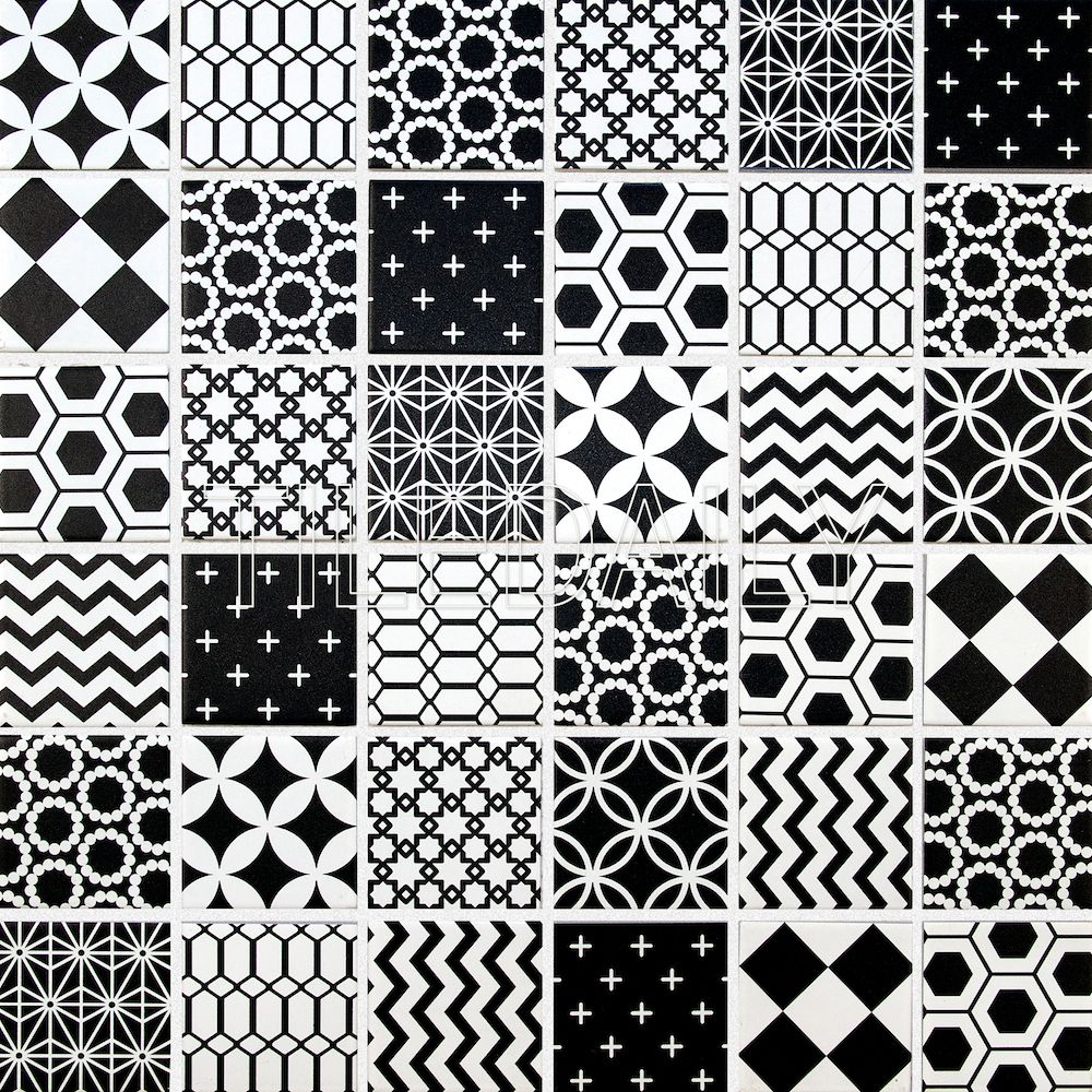 Geometric Pattern Mosaic Tile Black And White Tiledaily