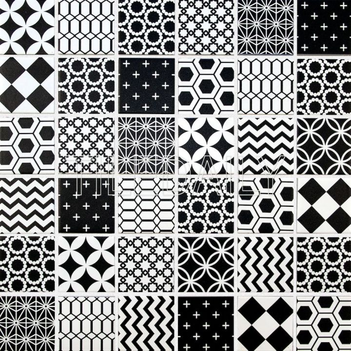 Geometric Pattern Mosaic Tile, Black And White