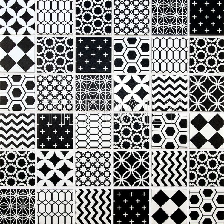 Geometric Pattern Mosaic Tile Black And White Tiledaily Extraordinary Geometric Pattern