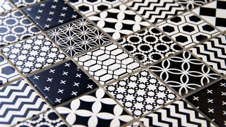 2x2 Black And White Mixed Pattern, Geometric Patterns Glass Mosaic Tile at TileDaily