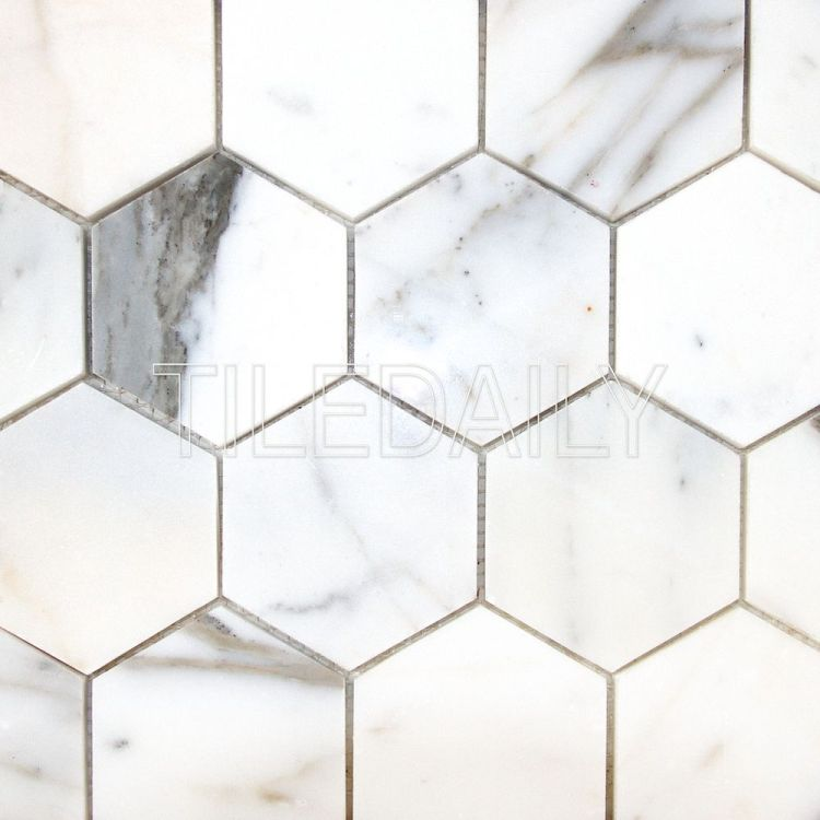 Calacatta Hexagon Marble Hexagon Mosaic Tile at TileDaily