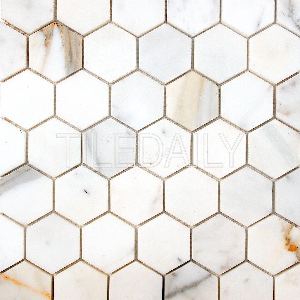 Calacatta Hexagon Marble Hexagon Mosaic Tile at TileDaily