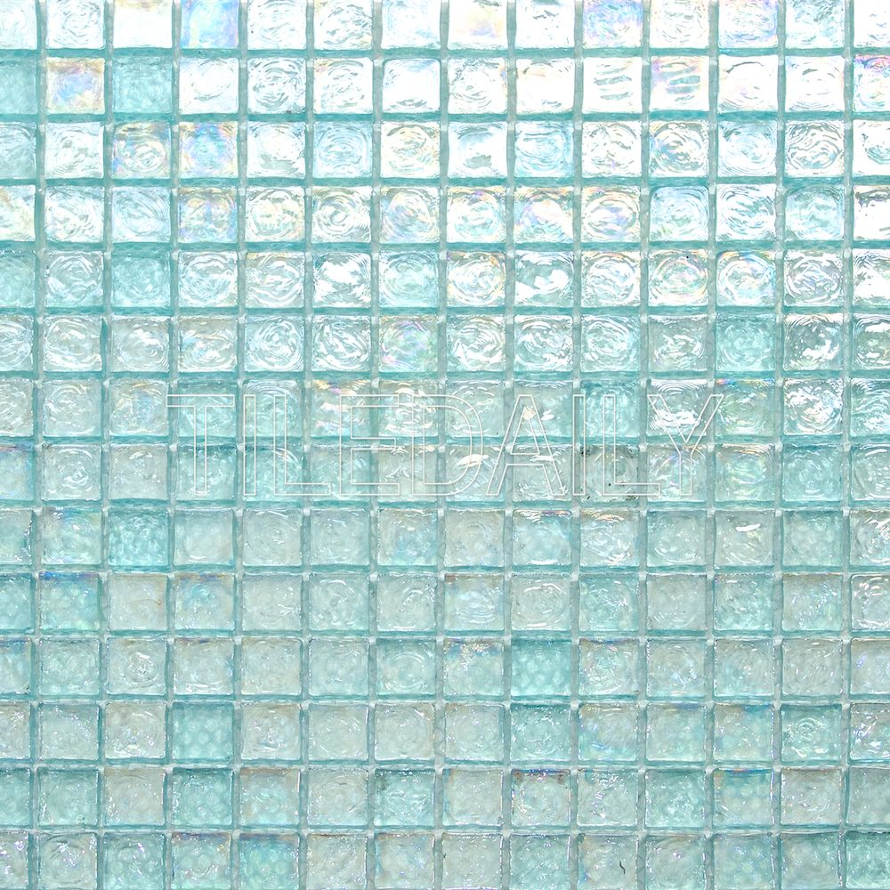 GM0090LGN - Iridescent Square Glass Mosaic, Aqua Green