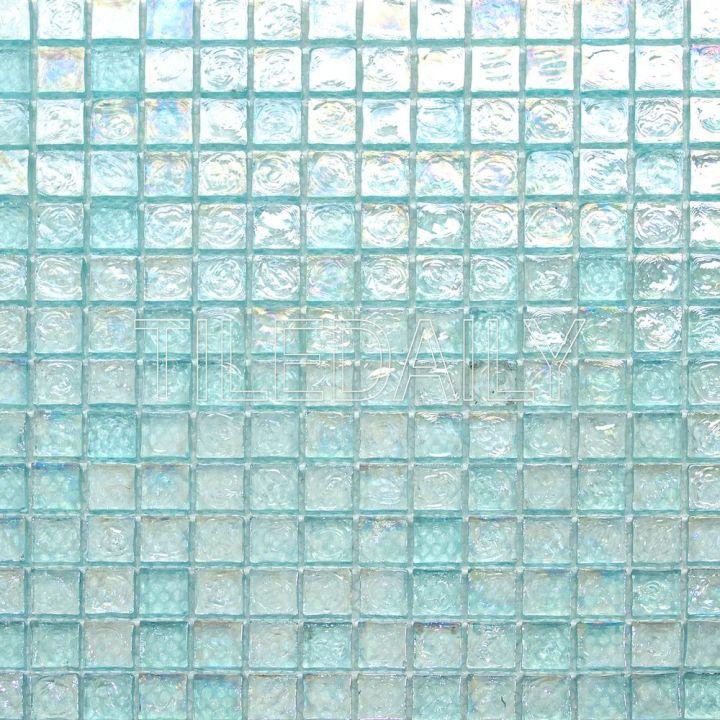 GM0090LGN - Iridescent Square Glass Mosaic, Aqua Green