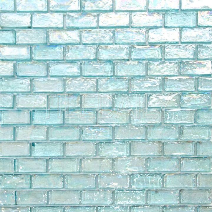 GM0090LGN - Iridescent Brick Glass Mosaic, Aqua Green