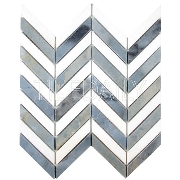 Two Tone Chevron Marble Mosaic Tile, White and Bluish Grey at TileDaily