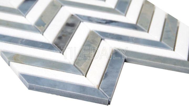 Two Tone Chevron Marble Mosaic Tile, White and Bluish Grey at TileDaily