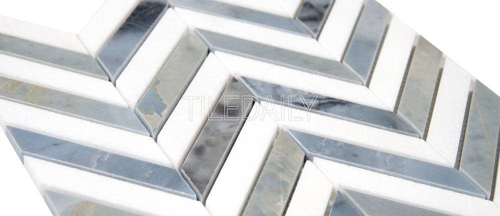 Two Tone Chevron Marble Mosaic Tiledaily