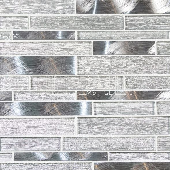 Silver Glass Brick Mosaic Tile at TileDaily
