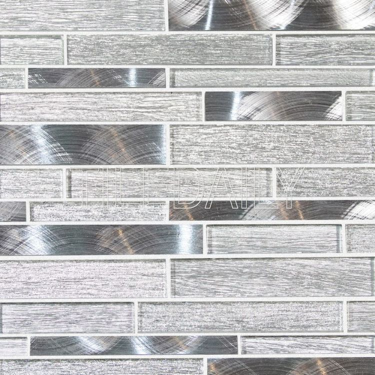 Aluminum and Silver Glass Mosaic Tile at TileDaily
