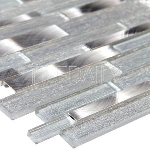 Silver Glass Brick Mosaic Tile at TileDaily