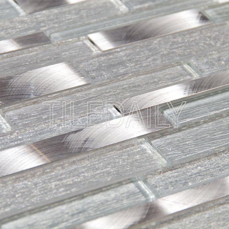 Alumina Glass Mosaic, Silver, Angle view / TileDaily