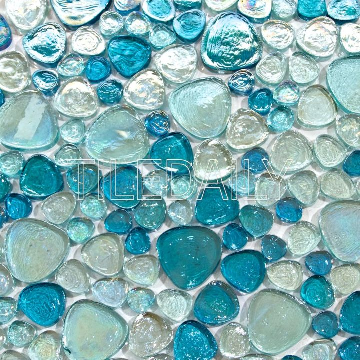 Iridescent Pebble Glass Mosaic, Mixed Blue. Available at TileDaily