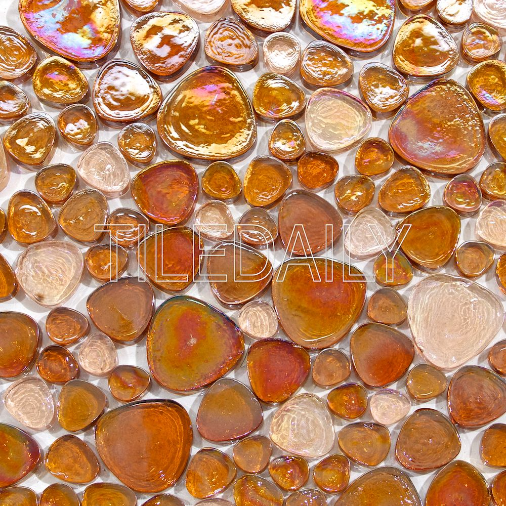 Iridescent Pebble Glass Mosaic, Golden Brown. Available at TileDaily