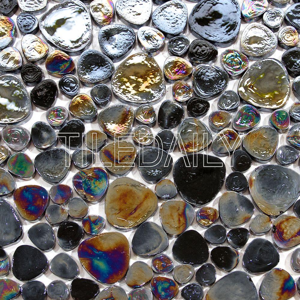 Iridescent Pebble Glass Mosaic Tiledaily