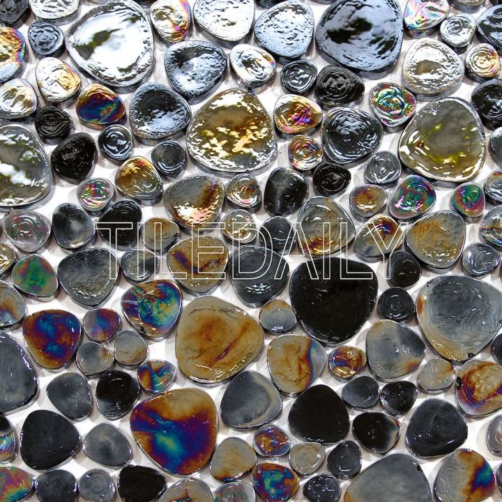 Iridescent Pebble Glass Mosaic, Black. Available at TileDaily