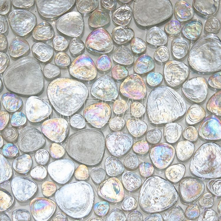 ice white iridescent pebble glass mosaic pool tile