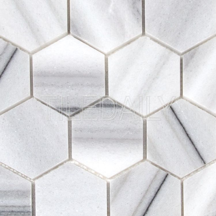 "3"" Hexagon Marmara Marble Mosaic Tile at TileDaily"