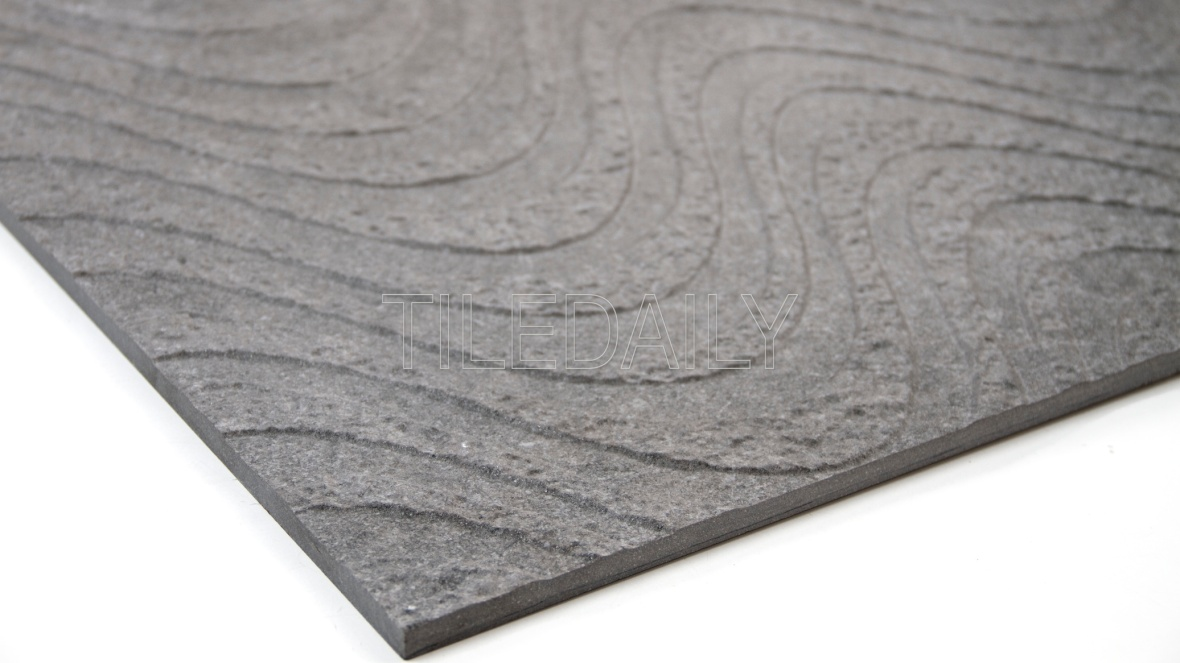 Greystone Porcelain Tile, Wave Texture, dark grey