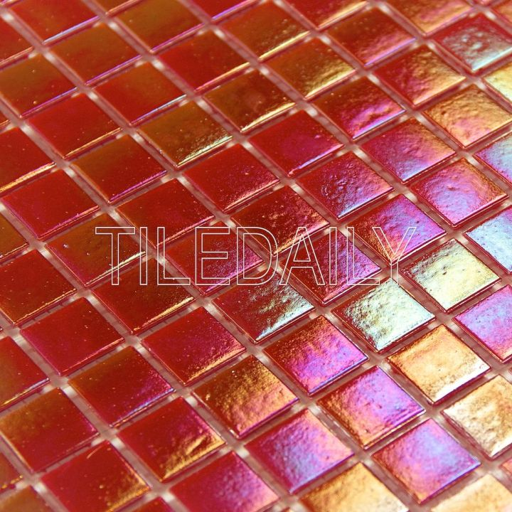 Iridescent Opaque Glass Mosaic Tile Wall Art and Water Pool Fountain