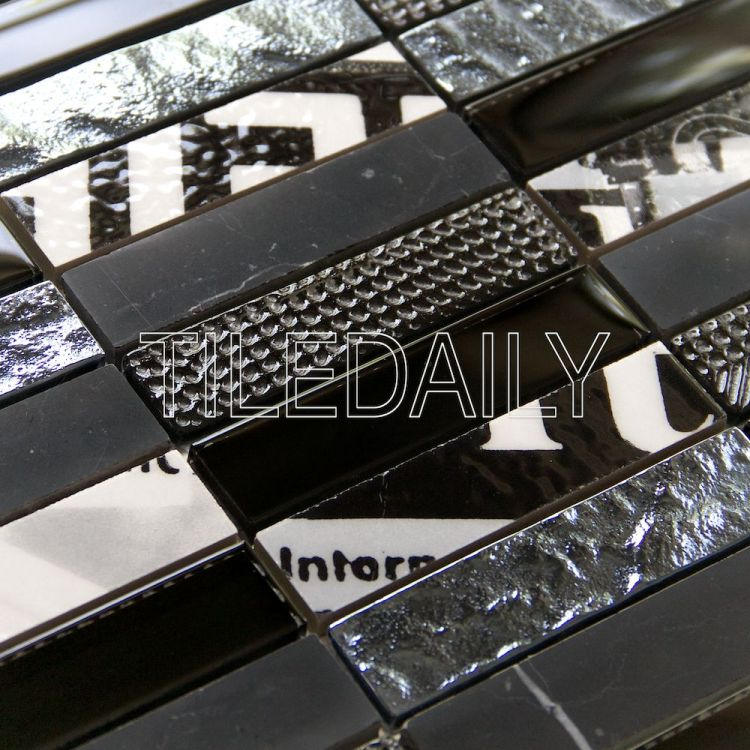 Paper Glass and Stone Mosaic, Black