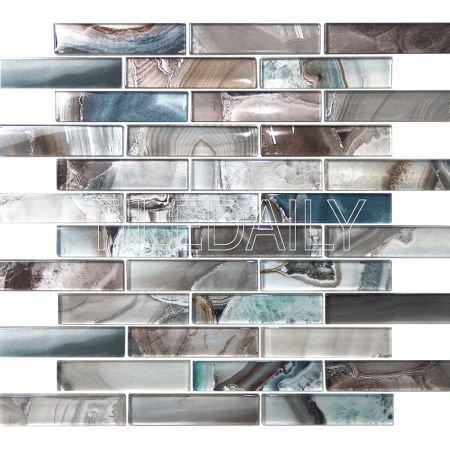 Agate Glass Mosaic Tile, Marine Blue
