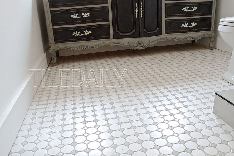 White Octagon Porcelain Mosaic With Light Grey Insert