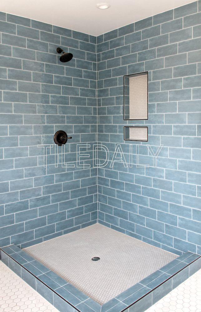 Potterie Subway Ceramic Wall Tile Blue