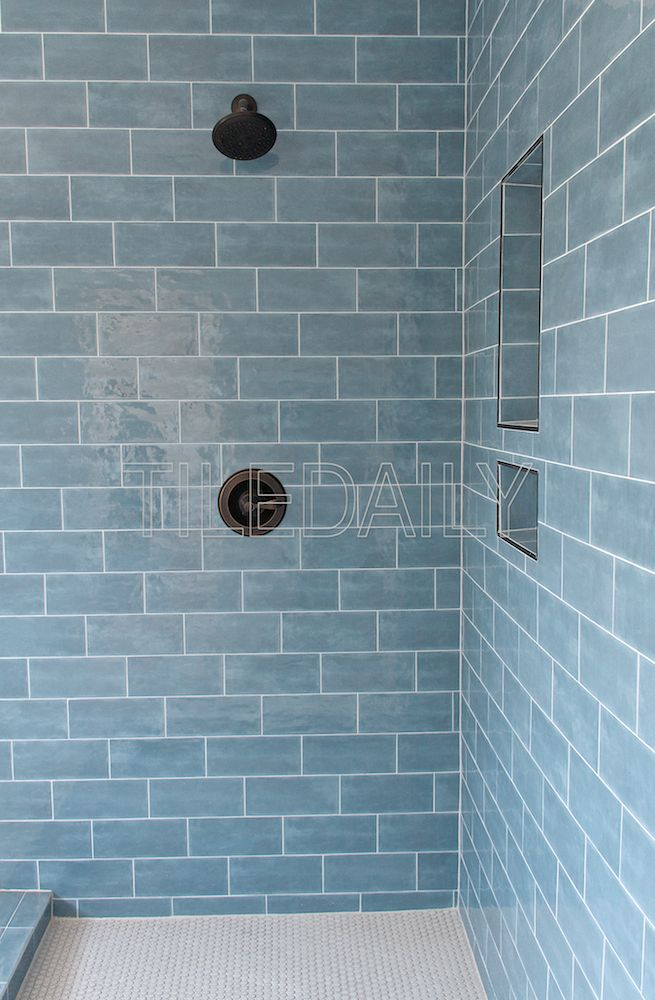 Potterie Subway Ceramic Wall Tile Blue