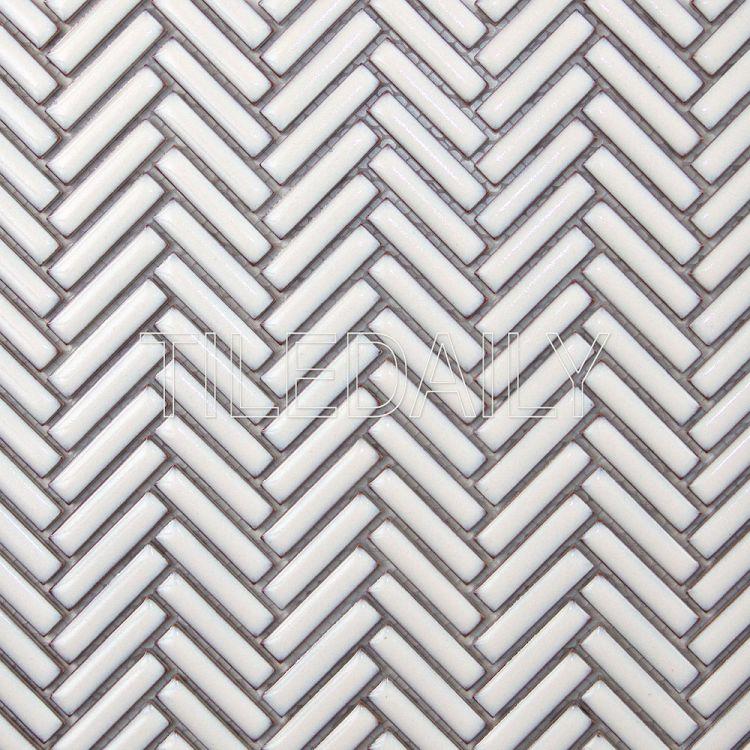 Rustic White Herringbone Porcelain Mosaic Tile