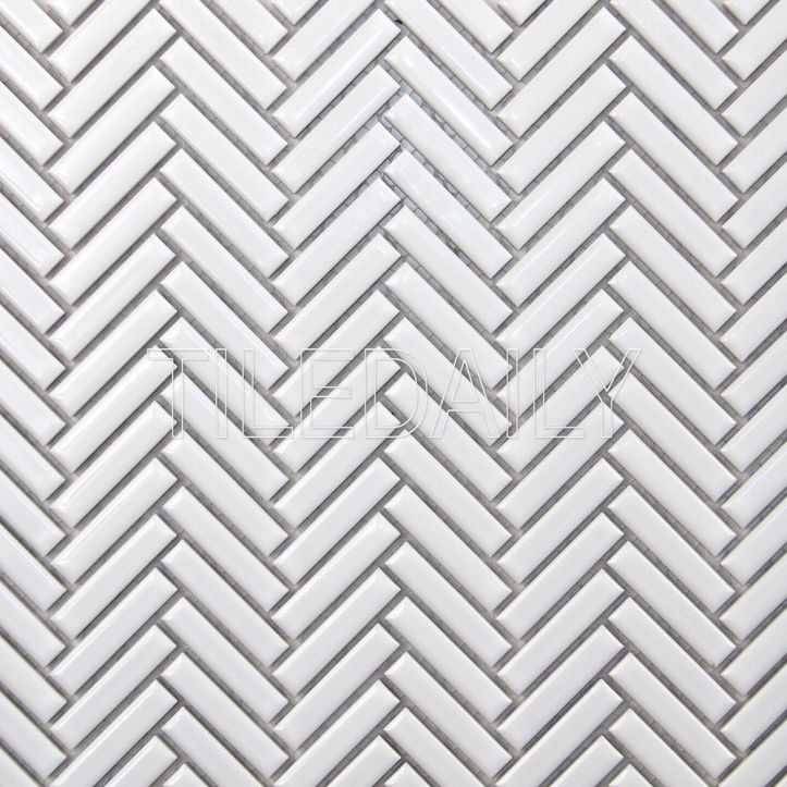 Glossy White Mini Herringbone Mosaic Tile