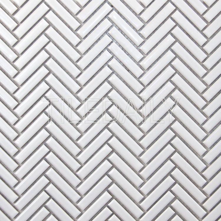 Glossy White Mini Herringbone Mosaic Tile