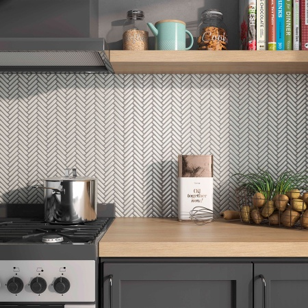 Mini Herringbone Kitchen Backsplash Mosaic Tile