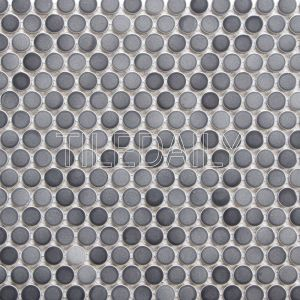 Gradient Gray Penny Round Mosaic Tile