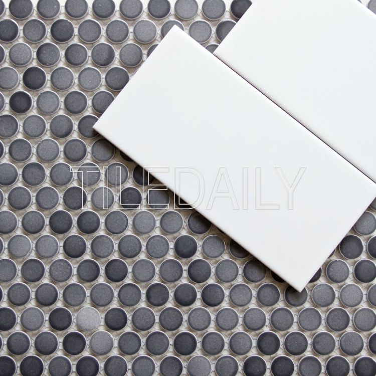 Mix Grey Penny Round and 4x8 White Subway Tile