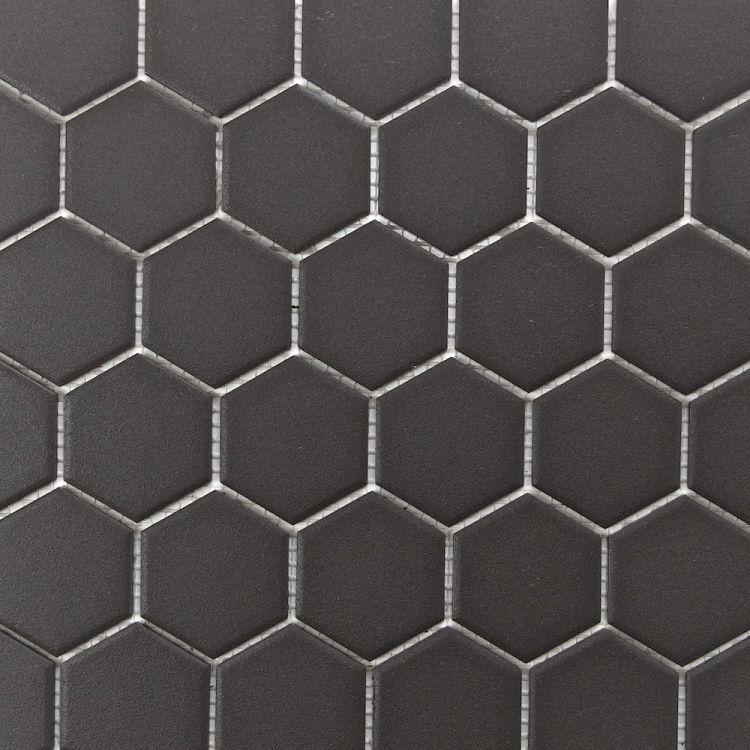 "Retro Unglazed Hexagon Mosaic Tile, 2"""