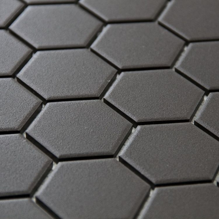 "Retro Unglazed Hexagon Mosaic Tile, 2"", Black"