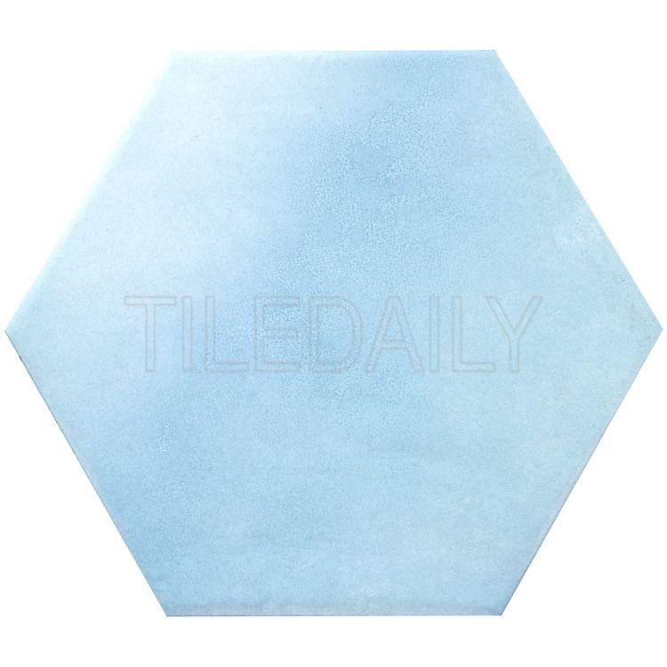 "8"" Aqua Blue Hexagon Tile"