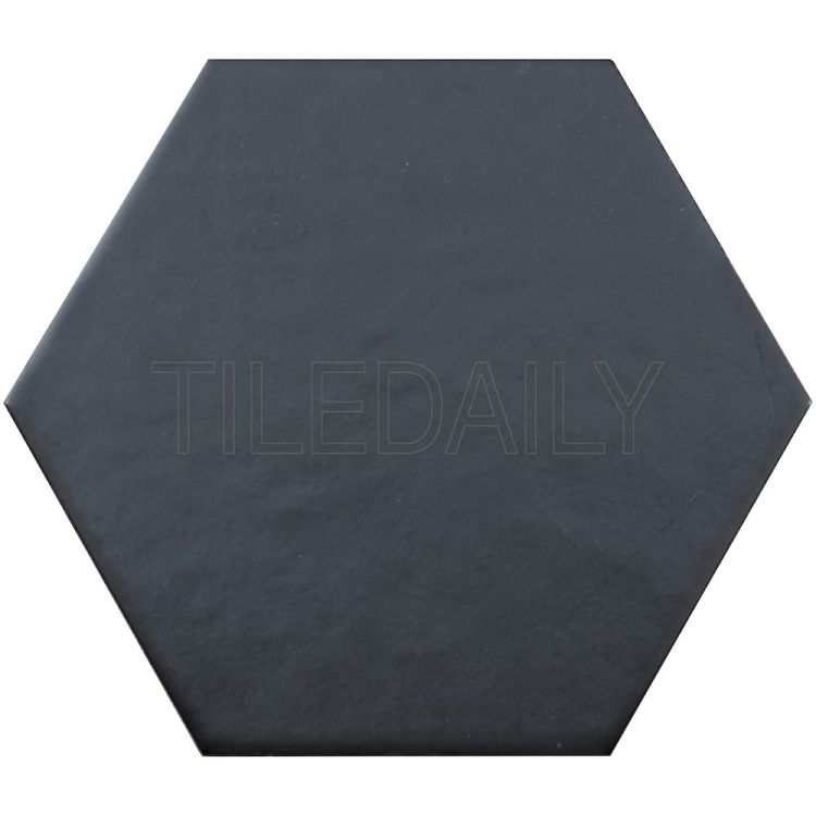 "8"" Retro Black Hexagon Tile Floor and Wall"