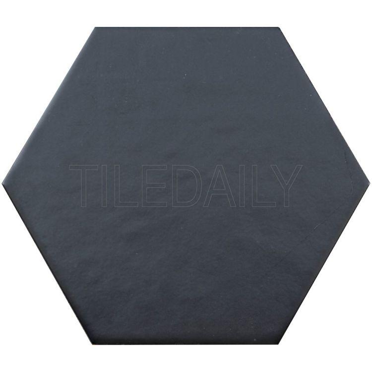 "8"" Retro Black Hexagon Tile Floor and Wall"