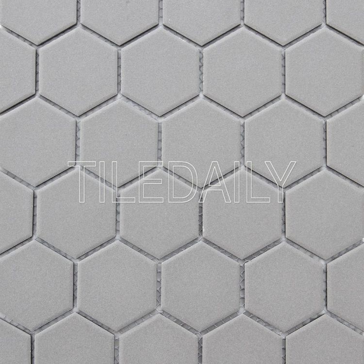 PM0090 Retro Unglazed Hexagon Mosaic, Light Grey