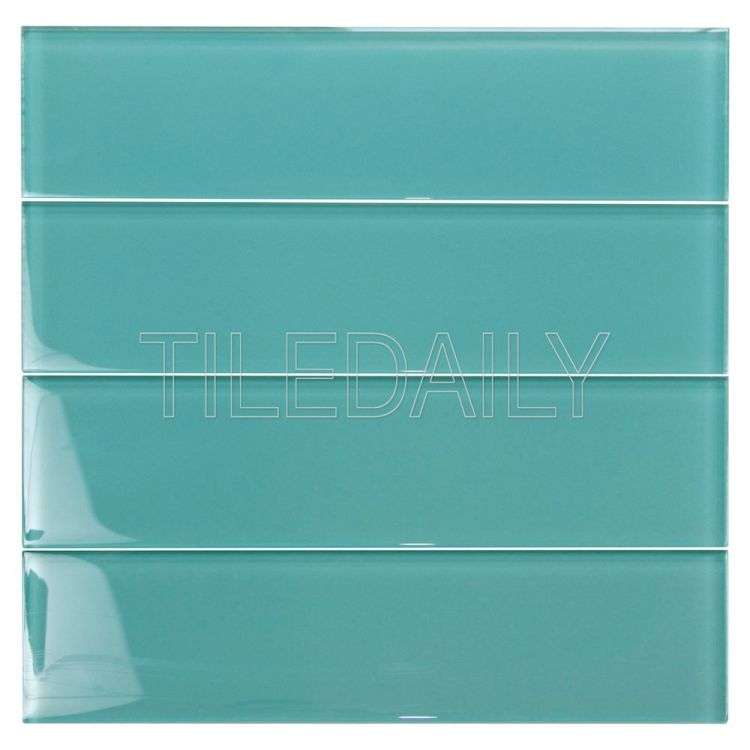 3x12 Teal Green Glass Subway Tile