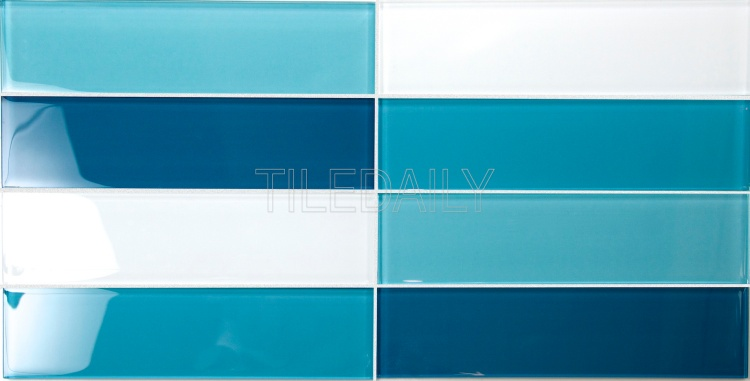 Mix Turquoise Blue Glass Subway Glass Tile