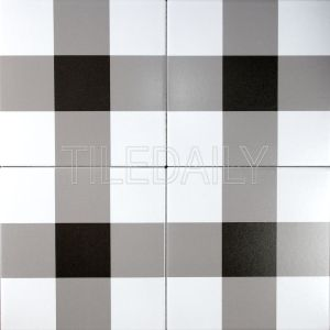 8x8 Flex Art Porcelain Tile Plaid Pattern Black And White