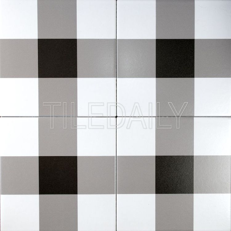 8x8 Flex Art Porcelain Tile Plaid Pattern Black And White