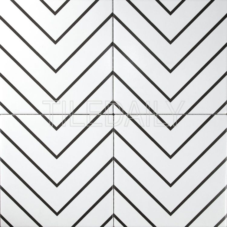 8x8 Flex Art Porcelain Tile Chevron Pattern Black And White