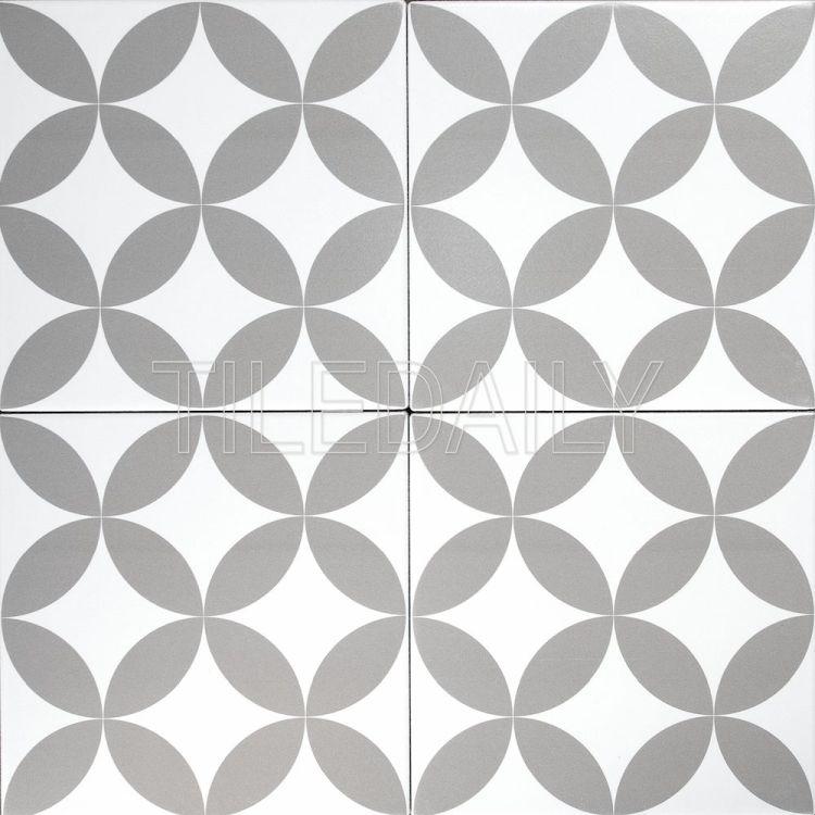 8x8 Flex Art Porcelain Tile Flower Pattern Deco Mix Grey