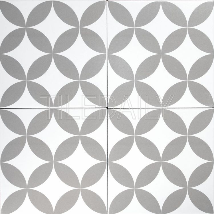 8x8 Flex Art Porcelain Tile Flower Pattern Deco Mix Grey