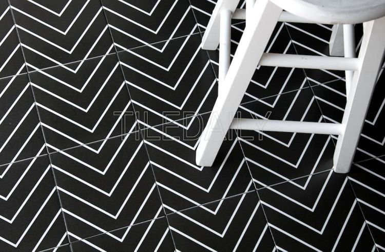 8x8 Flex Art Porcelain Tile Chevron Pattern Black And White