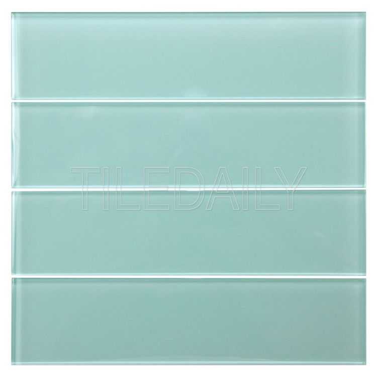 3x12 Aqua Green Glass Tile